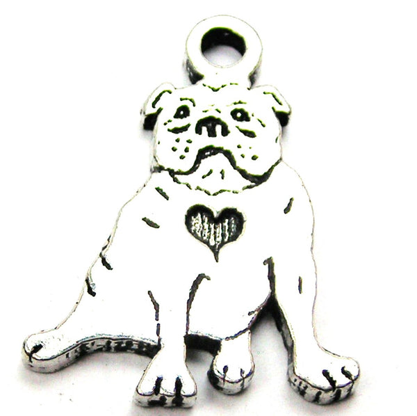 Sitting Bulldog With Heart Genuine American Pewter Charm