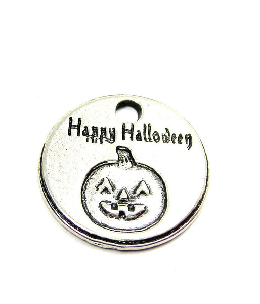 Happy Halloween Circle Genuine American Pewter Charm