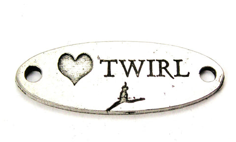 Love Twirl - 2 Hole Connector Genuine American Pewter Charm