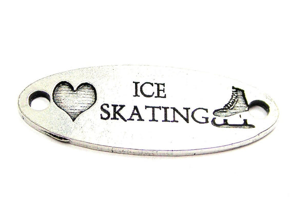 Love Ice Skating - 2 Hole Connector Genuine American Pewter Charm