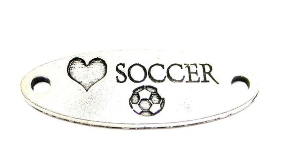 Love Soccer - 2 Hole Connector Genuine American Pewter Charm
