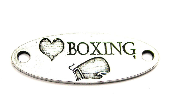 Love Boxing - 2 Hole Connector Genuine American Pewter Charm