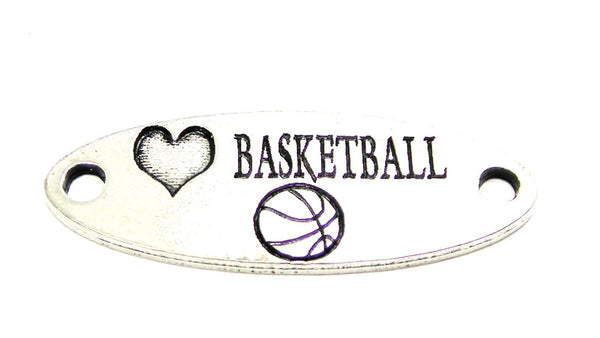 Love Basketball - 2 Hole Connector Genuine American Pewter Charm