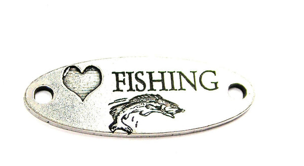 Love Fishing - 2 Hole Connector Genuine American Pewter Charm