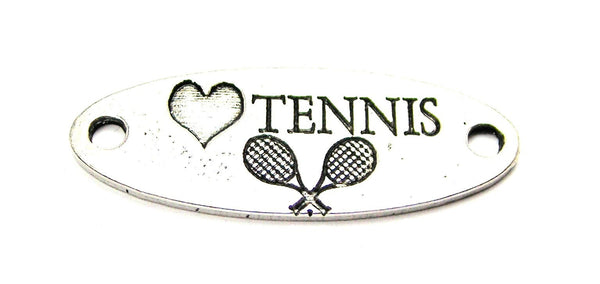 Love Tennis - 2 Hole Connector Genuine American Pewter Charm