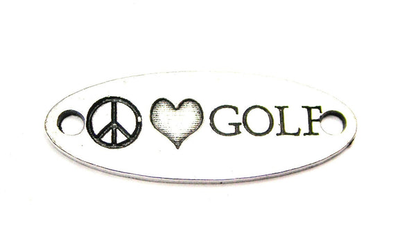 Peace Love Golf - 2 Hole Connector Genuine American Pewter Charm