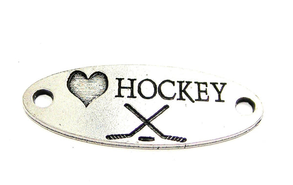 Love Hockey - 2 Hole Connector Genuine American Pewter Charm