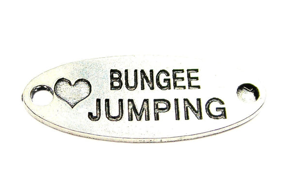 Love Bungee Jumping - 2 Hole Connector Genuine American Pewter Charm