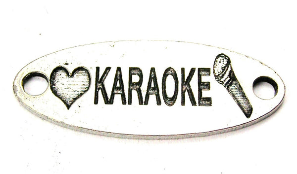 Love Karaoke - 2 Hole Connector Genuine American Pewter Charm