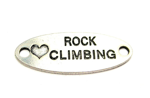 Love Rock Climbing - 2 Hole Connector Genuine American Pewter Charm