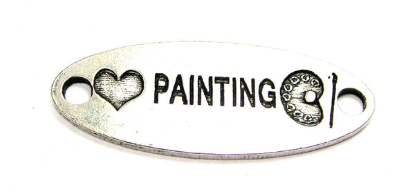 Love Painting - 2 Hole Connector Genuine American Pewter Charm