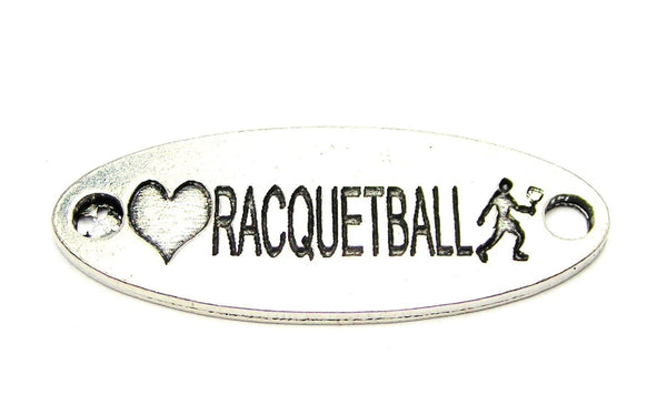Love Raquetballing - 2 Hole Connector Genuine American Pewter Charm