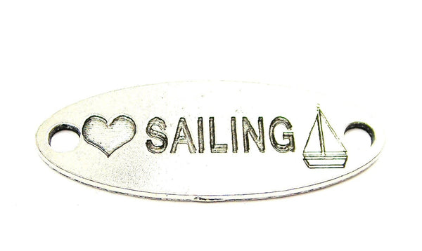 Love Sailing - 2 Hole Connector Genuine American Pewter Charm