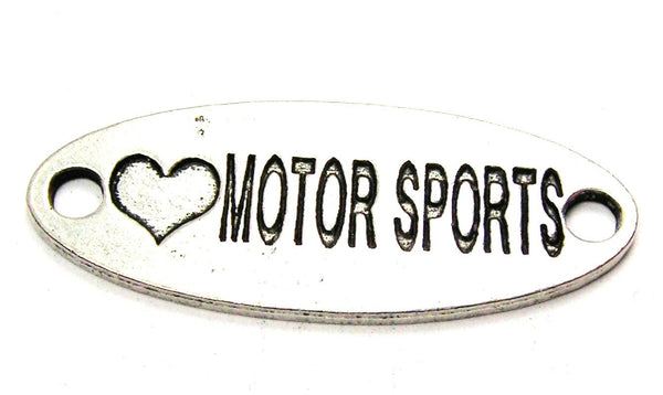 Love Motor Sports - 2 Hole Connector Genuine American Pewter Charm