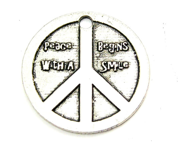 Peace Beings With A Smile Genuine American Pewter Charm