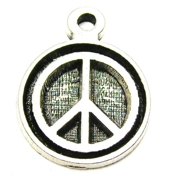 Peace Engraved Deep Circle Genuine American Pewter Charm