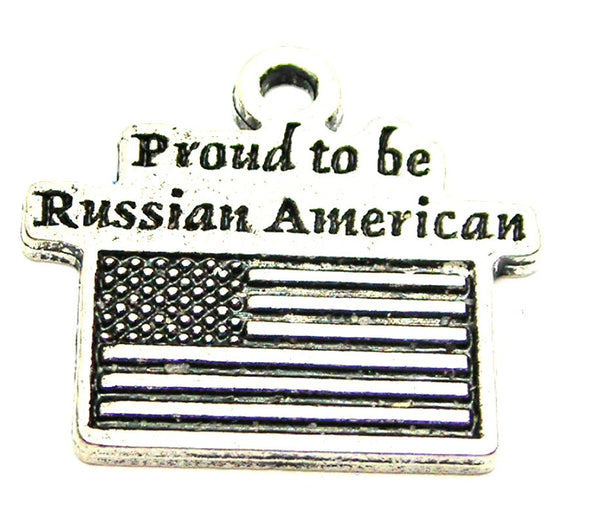 Proud To Be Russian American Genuine American Pewter Charm