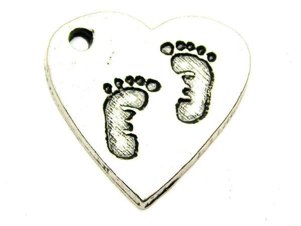 Baby Footprints On Your Heart Option 2 Genuine American Pewter Charm