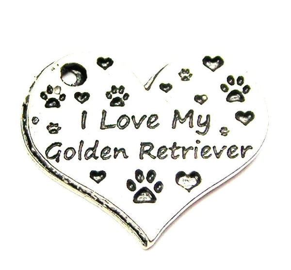 I Love My Golden Retriever Heart Genuine American Pewter Charm