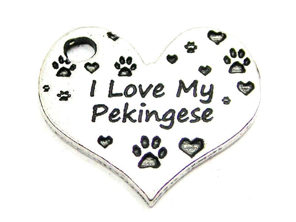I Love My Pekingese Heart Genuine American Pewter Charm
