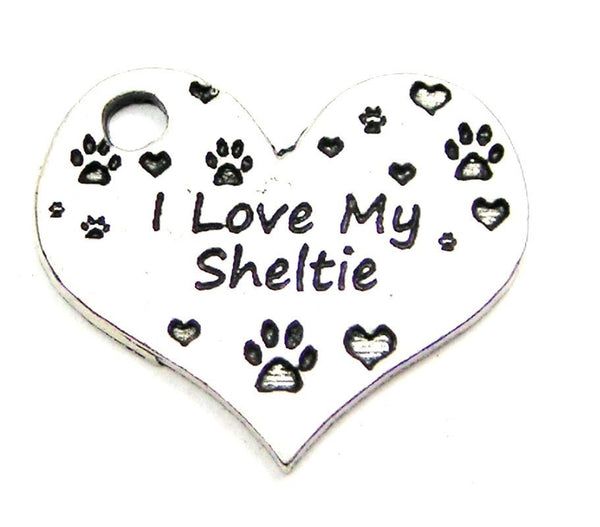 I Love My Sheltie Heart Genuine American Pewter Charm