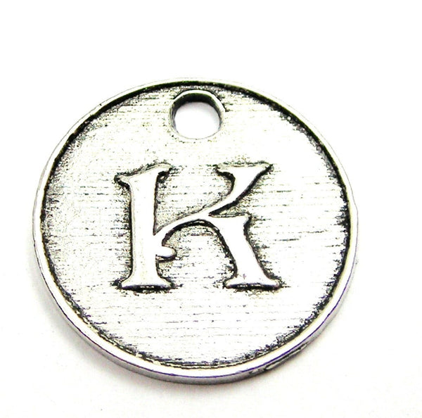 Initial K Circle Genuine American Pewter Charm