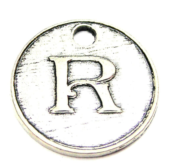 Initial R Circle Genuine American Pewter Charm