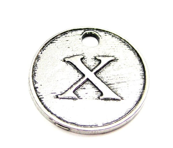Initial X Circle Genuine American Pewter Charm