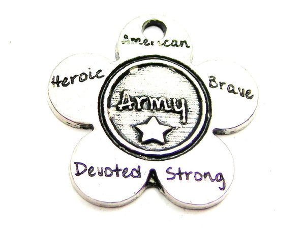 The Army Flower Small Genuine American Pewter Charm