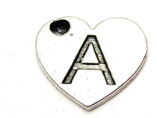 Heart Shaped Initial A Genuine American Pewter Charm