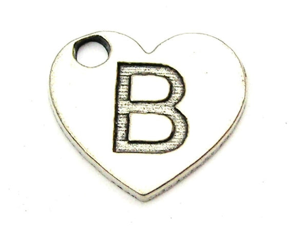 Heart Shaped Initial B Genuine American Pewter Charm