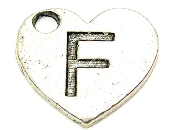 Heart Shaped Initial F Genuine American Pewter Charm