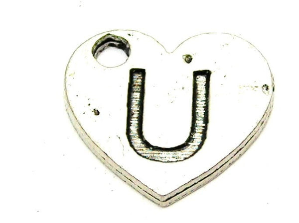 Heart Shaped Initial U Genuine American Pewter Charm