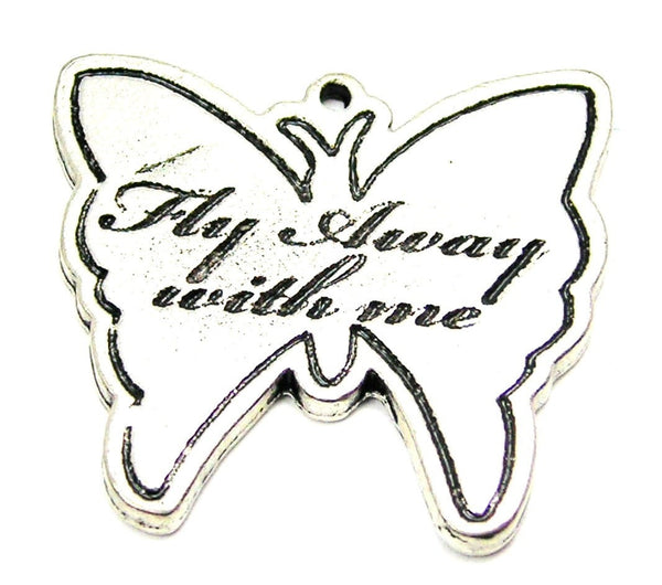 Fly Way With Me Butterfly Genuine American Pewter Charm