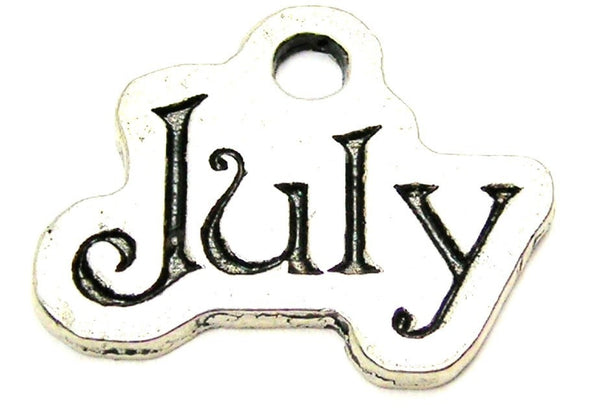 July Outlined Genuine American Pewter Charm