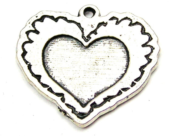 Scribble Heart Genuine American Pewter Charm