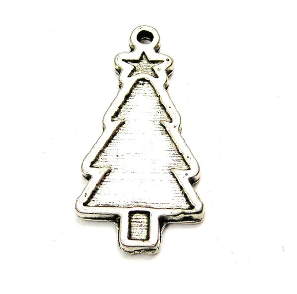 Engraved Christmas Tree Genuine American Pewter Charm