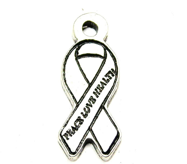 Peace Love Health Awareness Ribbon Genuine American Pewter Charm