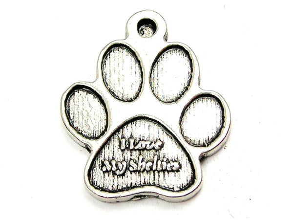 I Love My Shelties Paw Genuine American Pewter Charm
