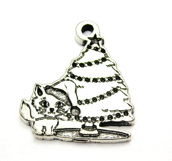 Kitten Under The Christmas Tree Genuine American Pewter Charm