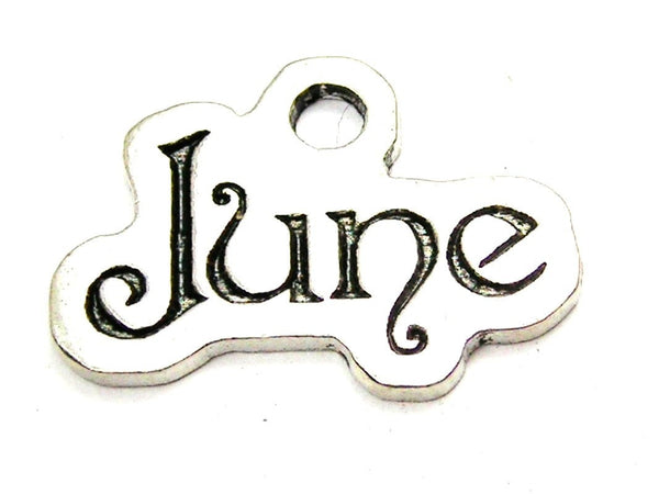 June Outlined Genuine American Pewter Charm