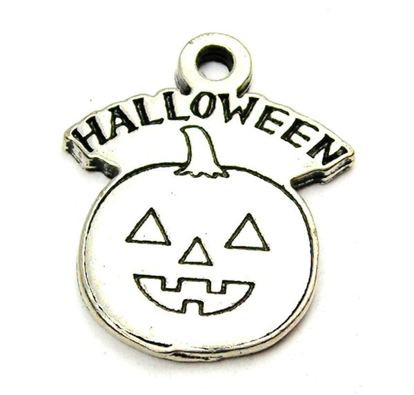 Halloween With Jack O Lantern Genuine American Pewter Charm