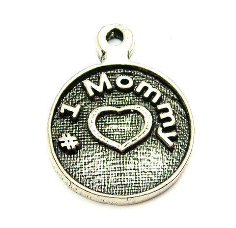 #1 Mommy Circle Genuine American Pewter Charm