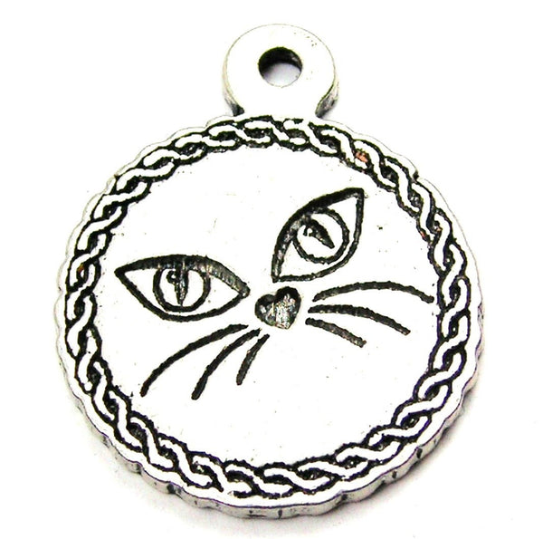 Kitty Face Circle Genuine American Pewter Charm