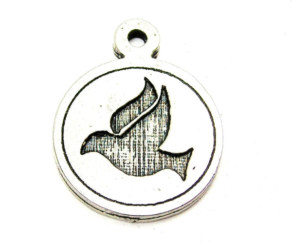 Dove Circle Genuine American Pewter Charm