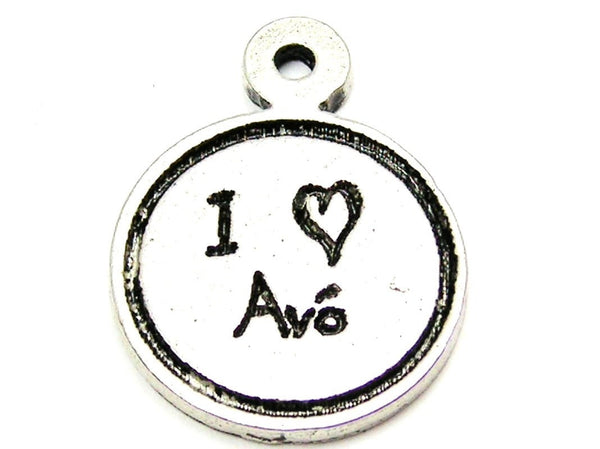 I Love Avã³ (Grandmother) Child Handwriting Genuine American Pewter Charm