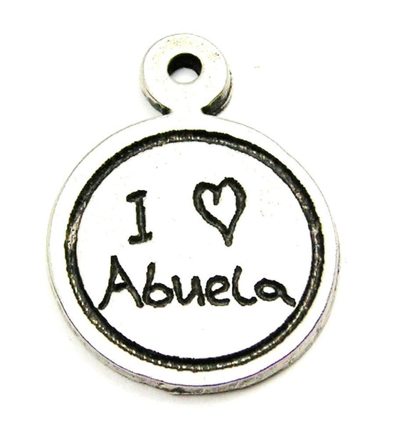 I Love Abuela Child Handwriting Genuine American Pewter Charm