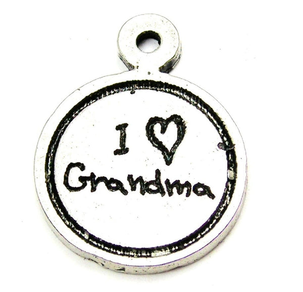I Love Grandma Child Handwriting Genuine American Pewter Charm