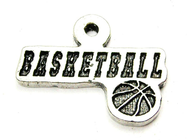 Basketball Tab With Basketball Genuine American Pewter Charm