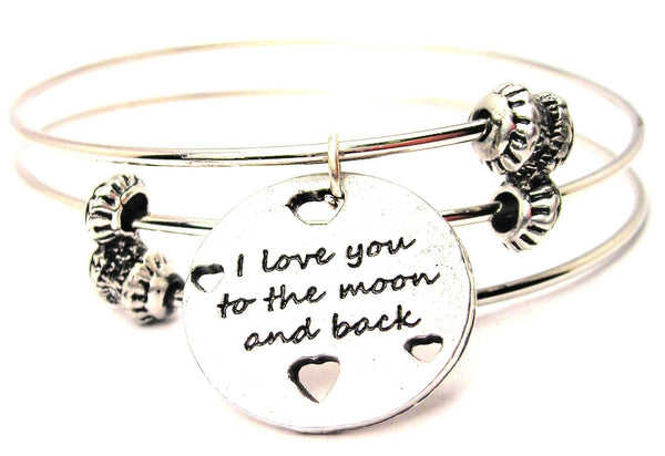 I Love You To The Moon And Back With Hearts Triple Style Expandable Bangle Bracelet